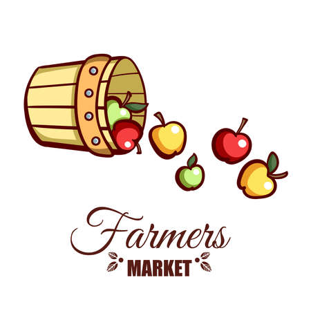 Farmers Market Bucket Of Apples Illustration