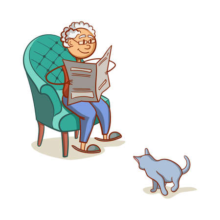 old newspaper: Grandfather With Cat Illustration