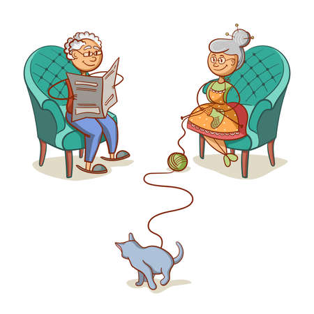 Grandfather Grandmother And Cat Illustration
