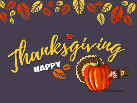 Thanksgiving Greeting Card With Turkey Stock Photo