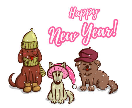 Greeting card for New Year. Cute puppies on white background. Vector illustration Illustration