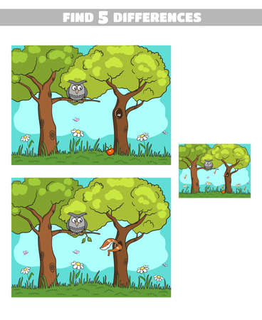 Find Differences Forest Owl Squirrel Stock Illustratie