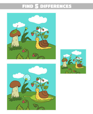 Find Differences Forest Snail Illustration