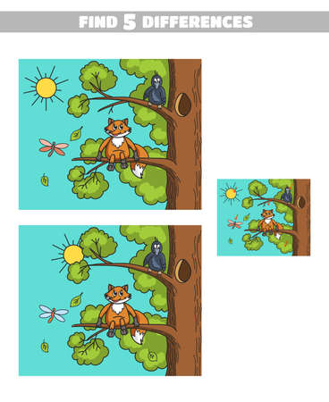 Find five Differences Fox And Crow, game for kids