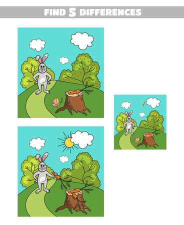 Find 5 differences. Page of book with game for children. Forest animals. Vector illustration Illustration