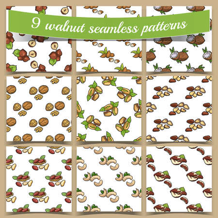 Big collection of seamless pattern with different fresh nuts. Vector illustration  イラスト・ベクター素材