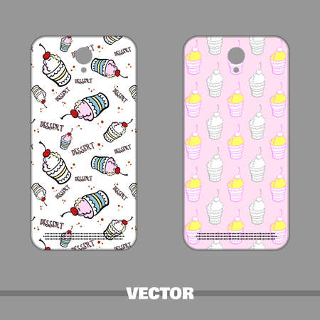 Set of sweet mobile phone covers with ice cream designs.