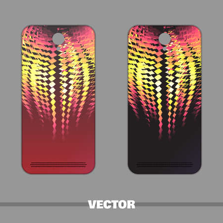 Bright covers for mobile phone with fiery pattern. Red and black colors. Vector illustration Illustration