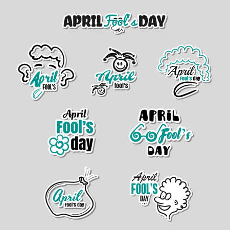 April Fools Day Stickers Set Illustration