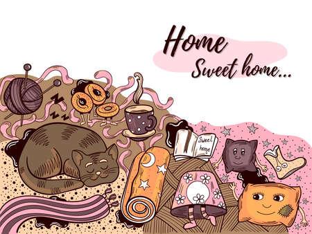 Home Sweet Home Doodle Illustration Stok Fotoğraf