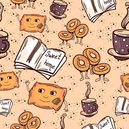 Seamless pattern made from hand drawn cute cosy home characters and objects. Vector illustration in doodle style