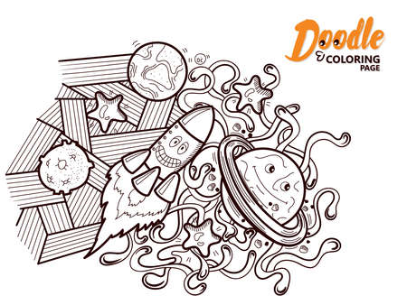 Coloring Book Doodle Funny Cosmos Çizim