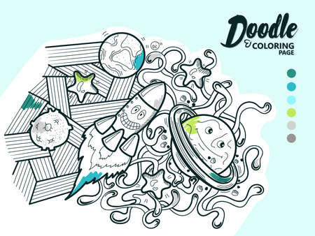 Doodle Illustration Funny Cosmos