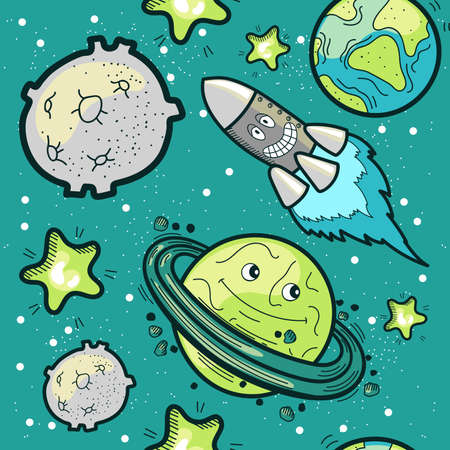 Space Travel Seamless Pattern Çizim