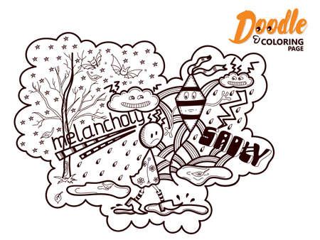 Coloring Book Doodle Melancholy Stok Fotoğraf