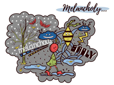 Ilustración colorida del doodle. Tema de melancolía, tristeza. Ilustración vectorial Se puede utilizar para portadas de cuadernos y agendas.