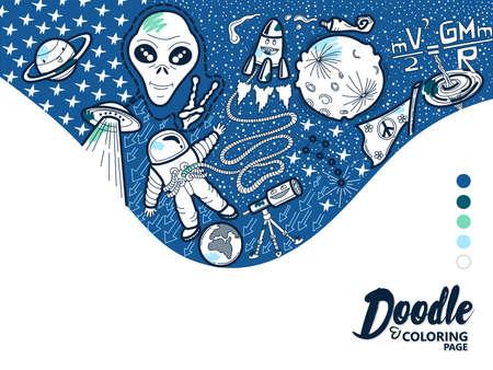 Doodle Illustration Space Çizim