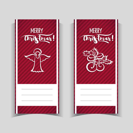 Red christmas banners on gray background. Vector illustration