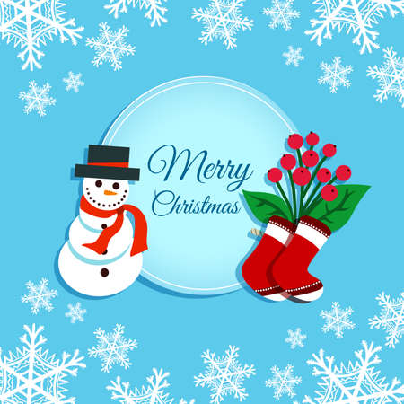 Greeting Card With Snowman Çizim