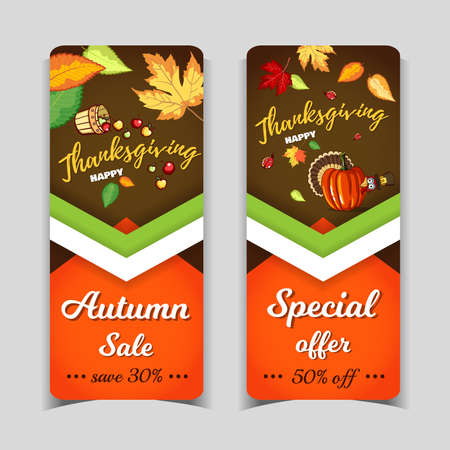 Banners Thanksgiving Day Autumn Holiday