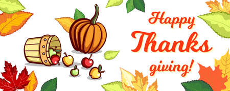 Banner With Apples Thanksgiving Day