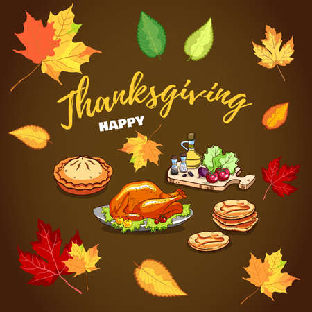 Happy Thanksgiving Greeting Card Illustration