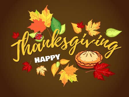 Thanksgiving Autumn Background With Pie