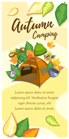 Camping Equipment Vertical Banner  イラスト・ベクター素材