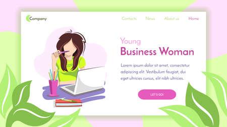 Business Girl With Pen Landing Çizim