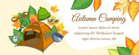Horizontal banner with camping equipment on the autumn background. Vector illustration