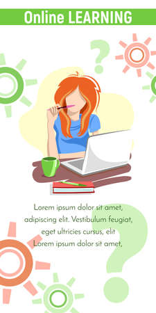 Online Learning Girl With Pen