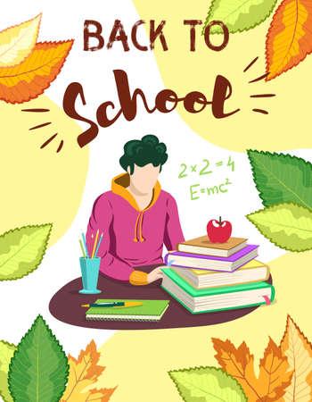 Boy studying at school. School supplies on desk. Autumn background. Vector illustration. Çizim