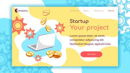 Landing Page Startup Laptop Coins Çizim