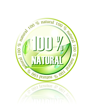 100% natural icon made in illustrator cs4 Stock Vector - 5674106