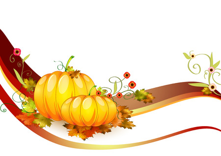 beautiful thanksgiving: pumpkins composition made in illustrator cs4