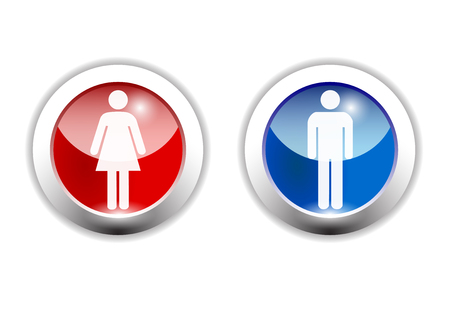 toilet symbol: boy and girl icon made in illustrator cs4 Illustration
