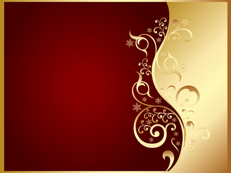 gold and red invitation card Vector