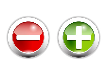 plus an minus signs on green and red buttons Vector