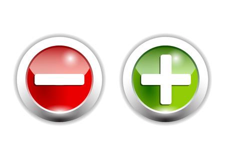 plus een min teken op groene en rode knoppen