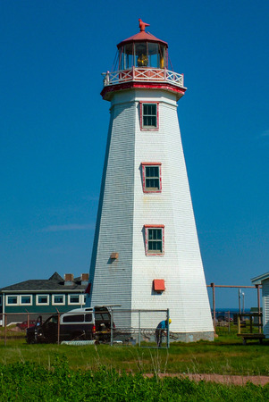 Iconic style Traditional lighthouse in Nova Scotia Canada Stock Photo