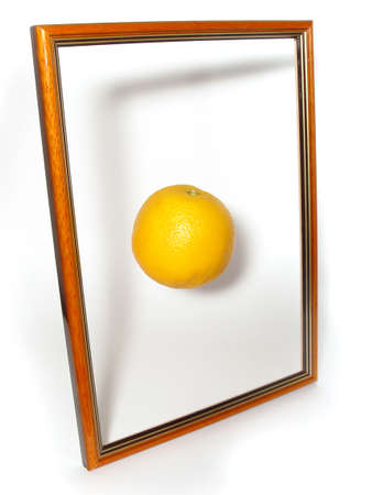 wooden frame with hanging orange in the center photo