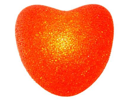 plastic heart: Burning plastic heart on the white background