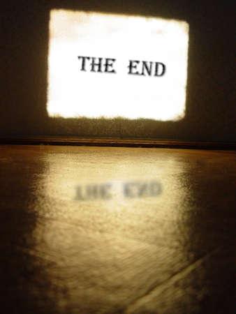 the end: alte Kinoleinwand Lizenzfreie Bilder