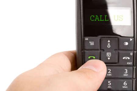 phone handset: nero telefono DECT portatile in mano gli uomini