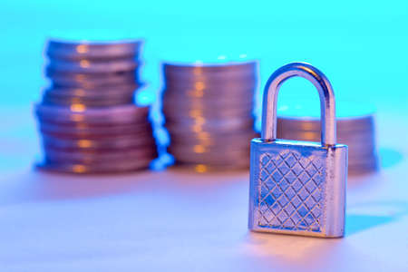 color toned safety finance concept, standing lock, copy space for the text Stock Photo - 3444403