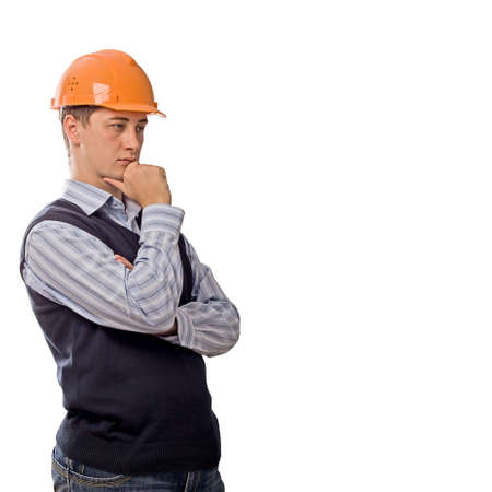 think safety: engineer in orange helmet thinking, copy space right hand, isolated on white background Stock Photo