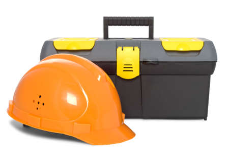 oarnge helmet and DIY toolbox isolated on white background Stock Photo