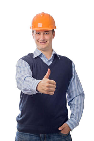man in orange helmet showing good sign, isolated on white background Stock Photo - 3444707