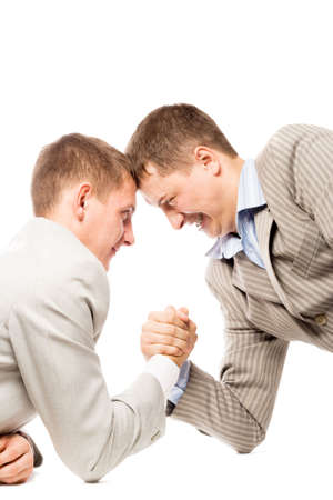 two men wrestling with arms, advantage business concept, white background photo