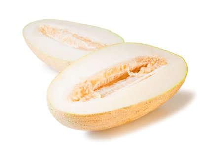 slit: isolated slit yellow watermelon, white